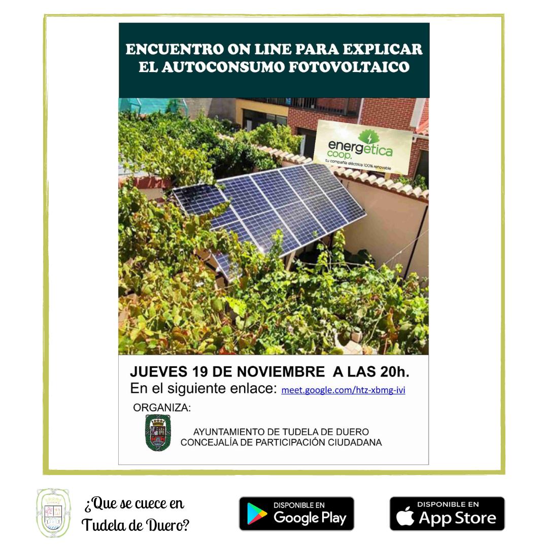 Charla Online Sobre el Autoconsumo Fotovoltaico - Qué se cuece en Tudela de Duero